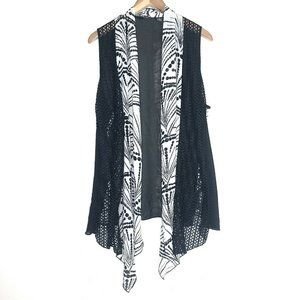Chico's Size 3 Open Front Cardigan Black White XL
